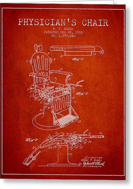 Medical Drawings Greeting Cards - 1933 Physicians chair patent - Red Greeting Card by Aged Pixel