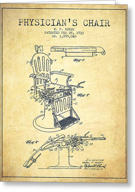 Medical Drawings Greeting Cards - 1933 Physicians chair patent - Vintage Greeting Card by Aged Pixel