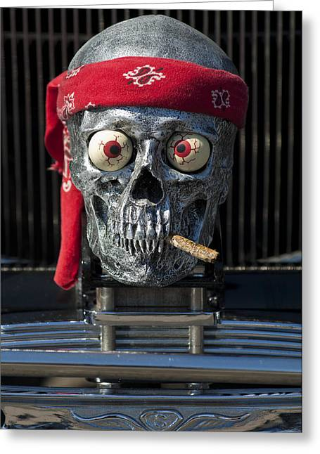 Red Street Rod Greeting Cards - 1933 Reo Flying Cloud Rat Rod Grille Ornament Greeting Card by Jill Reger