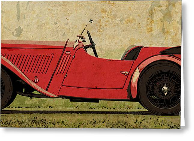 1933 Mixed Media Greeting Cards - 1933 Singer Nine Sports Greeting Card by Pablo Franchi