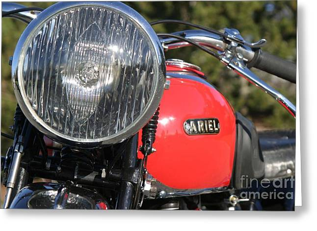 Ariel Greeting Cards - 1934 Ariel Motorcycle Tight Front view Greeting Card by Robert  Torkomian