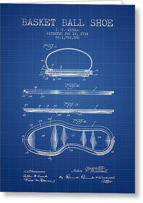 National Drawings Greeting Cards - 1934 Basket Ball Shoe Patent - blueprint Greeting Card by Aged Pixel