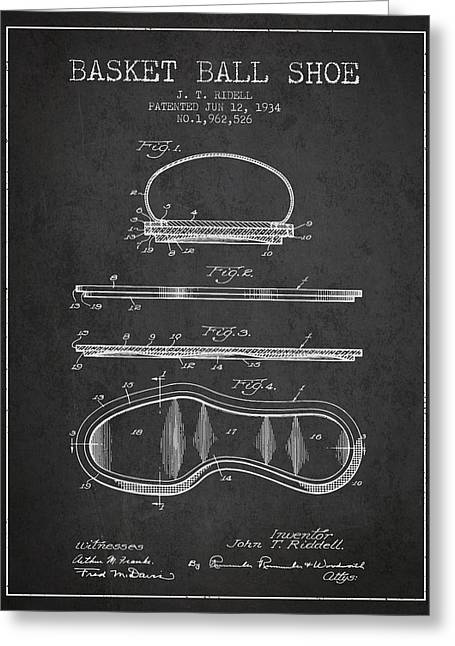 1934 Basket Ball Shoe Patent - Charcoal Greeting Card by Aged Pixel