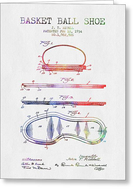 1934 Basket Ball Shoe Patent - Color Greeting Card by Aged Pixel