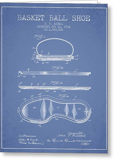 1934 Basket Ball Shoe Patent - Light Blue Greeting Card by Aged Pixel