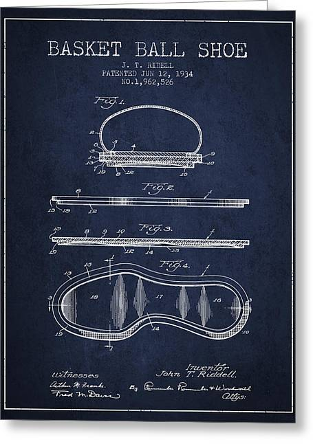 1934 Basket Ball Shoe Patent - Navy Blue Greeting Card by Aged Pixel