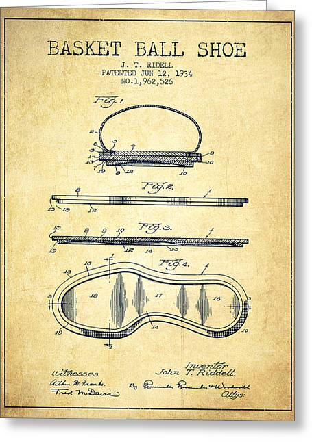 1934 Basket Ball Shoe Patent - Vintage Greeting Card by Aged Pixel