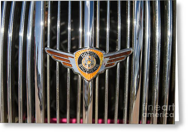 1934 Dodge Greeting Cards - 1934 Dodge Brothers Emblem by Darrell Hutto Greeting Card by Darrell Hutto