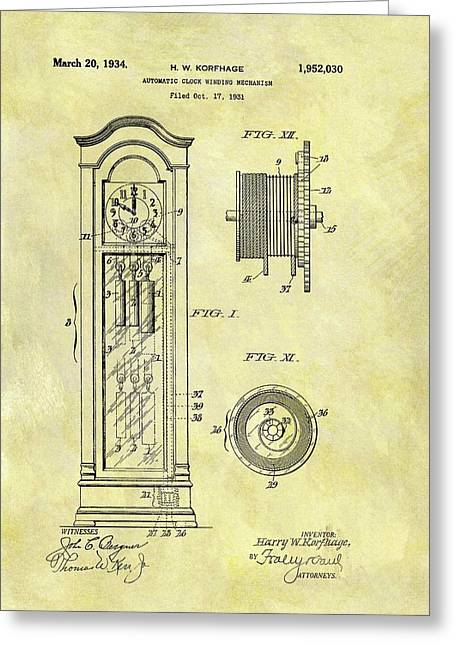 1934 Grandfather Clock Patent Greeting Card by Dan Sproul