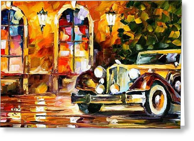 Modern Art Greeting Cards - 1934 Packard - PALETTE KNIFE Oil Painting On Canvas By Leonid Afremov Greeting Card by Leonid Afremov