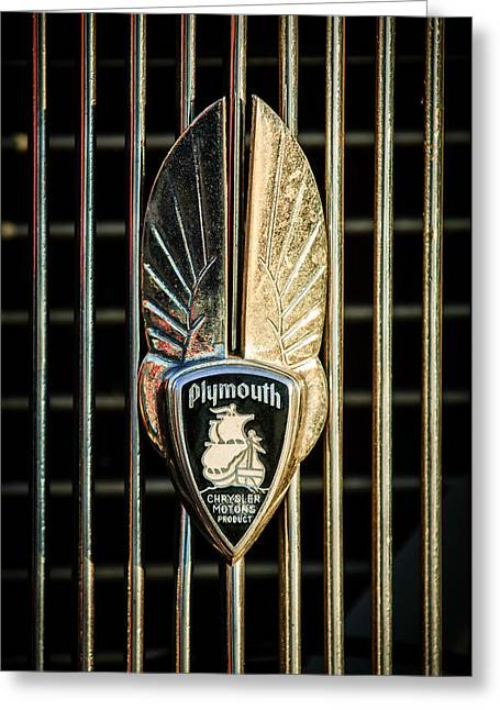 Hoodies Greeting Cards - 1934 Plymouth Emblem Greeting Card by Jill Reger