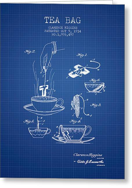 Tea Bag Greeting Cards - 1934 Tea Bag patent - blueprint Greeting Card by Aged Pixel