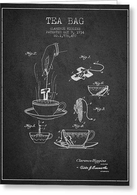 Tea House Greeting Cards - 1934 Tea Bag patent - charcoal Greeting Card by Aged Pixel