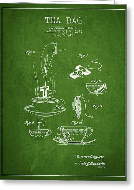 Tea Bag Greeting Cards - 1934 Tea Bag patent - green Greeting Card by Aged Pixel