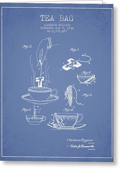 Tea House Greeting Cards - 1934 Tea Bag patent - light blue Greeting Card by Aged Pixel