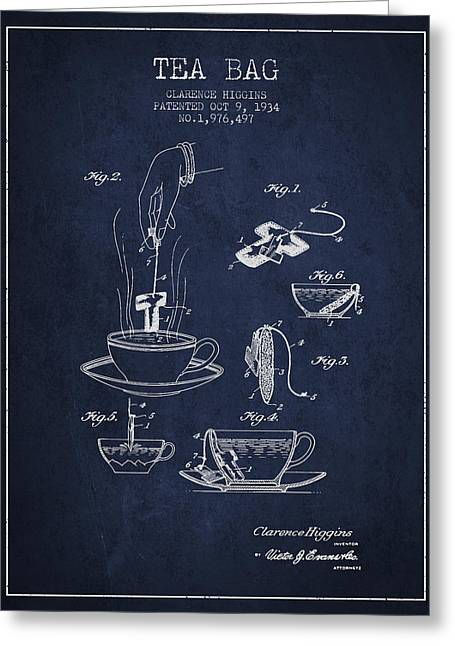 Tea House Greeting Cards - 1934 Tea Bag patent - navy blue Greeting Card by Aged Pixel