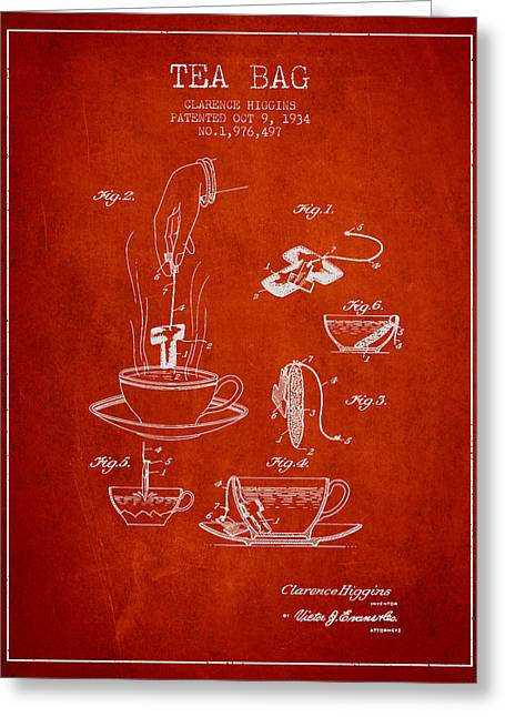 Tea House Greeting Cards - 1934 Tea Bag patent - red Greeting Card by Aged Pixel