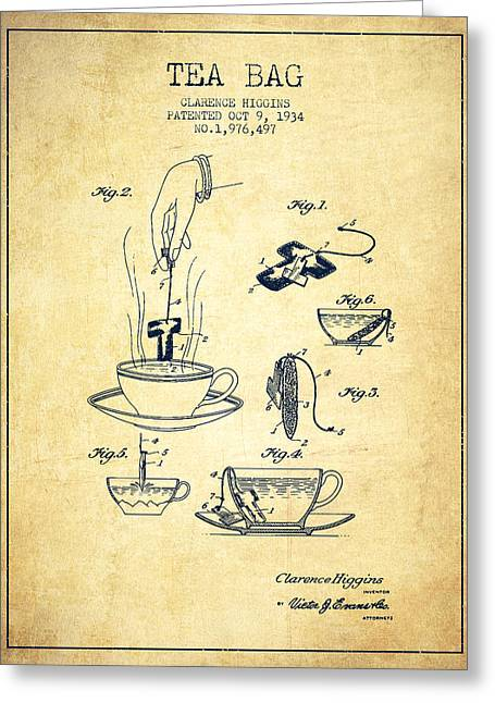Tea Bag Greeting Cards - 1934 Tea Bag patent - vintage Greeting Card by Aged Pixel