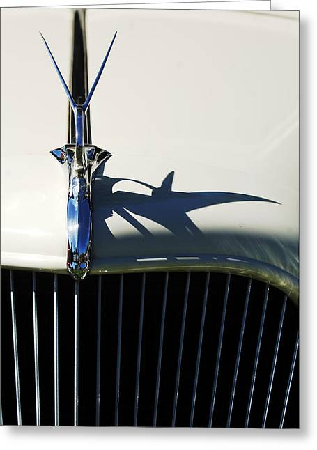 Car Part Greeting Cards - 1934 Terraplane Coupe Hood Ornament Greeting Card by Jill Reger