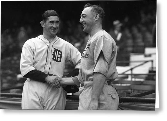 1934 World Series Captains Greeting Card by OleTime Photos