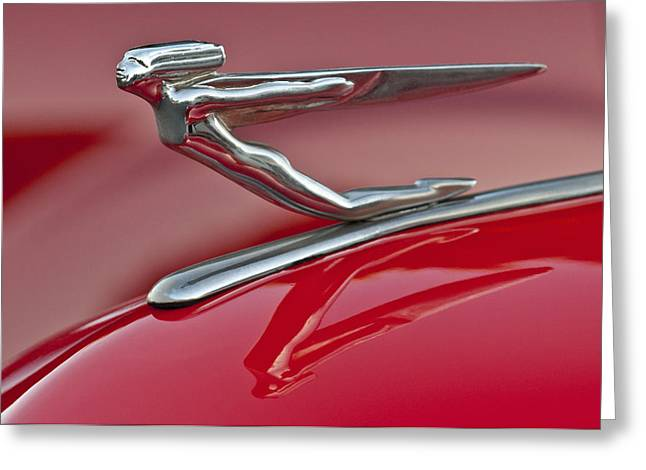 Car Mascot Greeting Cards - 1935 Auburn Hood Ornament 2 Greeting Card by Jill Reger