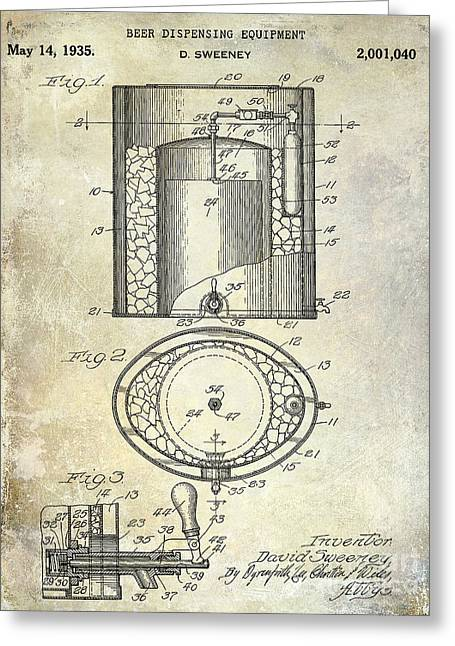 Stein Greeting Cards - 1935 Beer Equipment Patent  Greeting Card by Jon Neidert