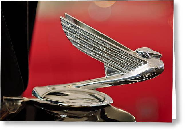 Mascots Greeting Cards - 1935  Chevrolet Eagle Hood Ornament Greeting Card by Jill Reger