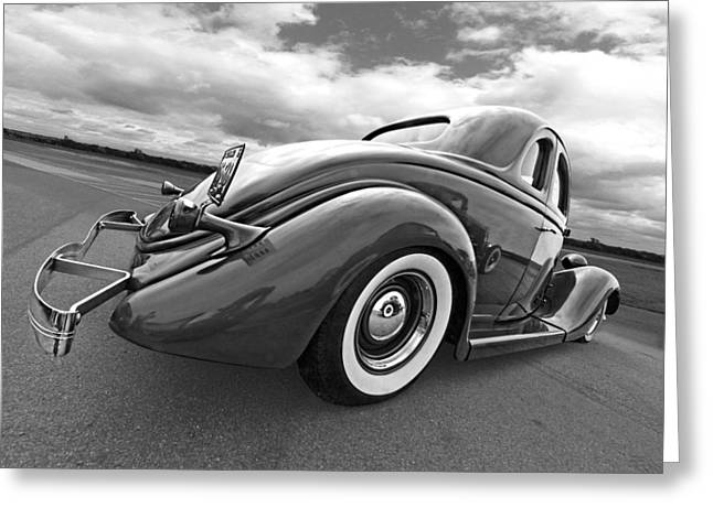 1930s Decor Greeting Cards - 1935 Ford Coupe in Black and White Greeting Card by Gill Billington