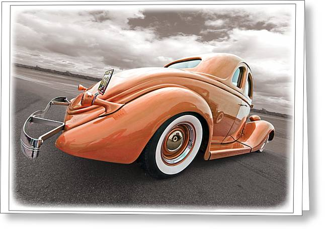 Lowrider Greeting Cards - 1935 Ford Coupe in Bronze Greeting Card by Gill Billington