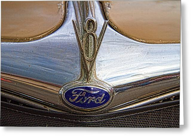 Collector Hood Ornament Greeting Cards - 1935 Ford Woods Hood Ornament Greeting Card by Nick Gray