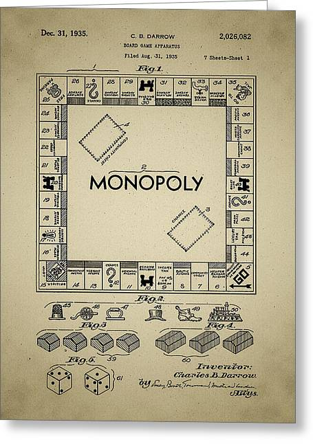 Monopoly Digital Greeting Cards - 1935 Monopoly Patent Greeting Card by Bill Cannon