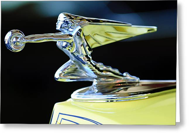 Vintage Hood Ornaments Greeting Cards - 1935 Packard Hood Ornament Greeting Card by Jill Reger