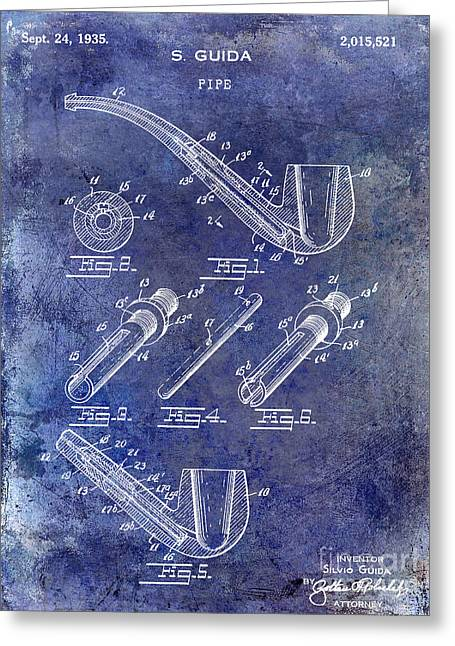 Pipe Greeting Cards - 1935 Pipe Patent Blue Greeting Card by Jon Neidert