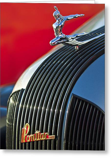 Collector Hood Ornament Greeting Cards - 1935 Pontiac Sedan Hood Ornament Greeting Card by Jill Reger