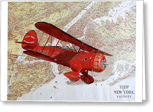 Take Over Paintings Greeting Cards - 1935 Sightseeing Waco Bi Plane  Greeting Card by Jack Pumphrey