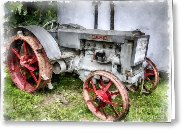Bestsellers Greeting Cards - 1935 Vintage Case Tractor Greeting Card by Edward Fielding