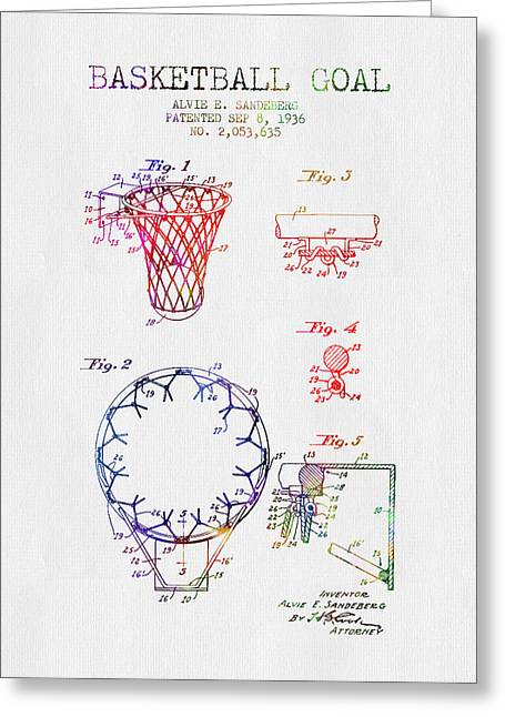 Basketball Drawings Greeting Cards - 1936 Basketball Goal patent - color Greeting Card by Aged Pixel
