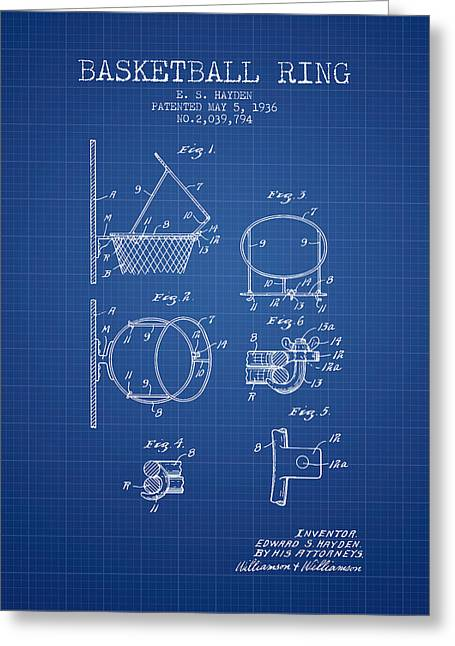 Basketball Drawings Greeting Cards - 1936 Basketball Ring Patent - blueprint Greeting Card by Aged Pixel