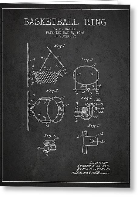 Basketball Drawings Greeting Cards - 1936 Basketball Ring Patent - charcoal Greeting Card by Aged Pixel
