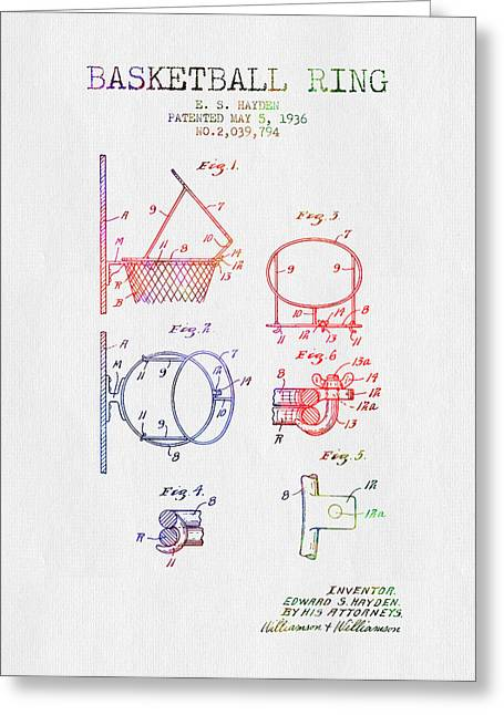 Basketball Drawings Greeting Cards - 1936 Basketball Ring Patent - color Greeting Card by Aged Pixel