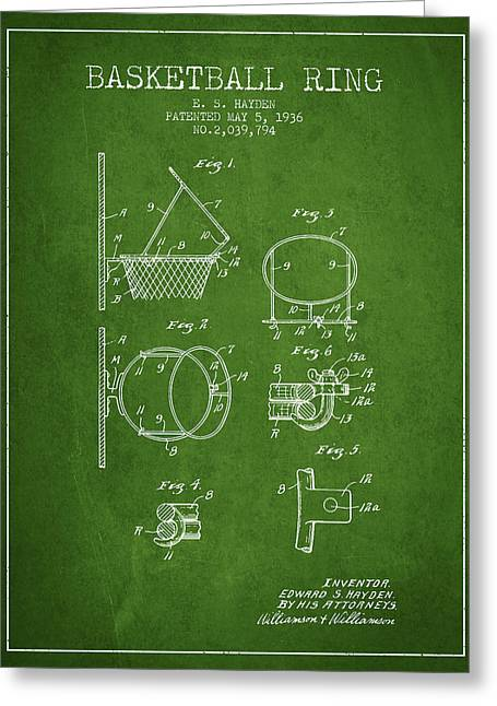 Basketball Drawings Greeting Cards - 1936 Basketball Ring Patent - green Greeting Card by Aged Pixel