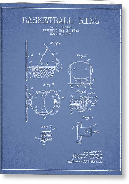 Basketball Drawings Greeting Cards - 1936 Basketball Ring Patent - light blue Greeting Card by Aged Pixel