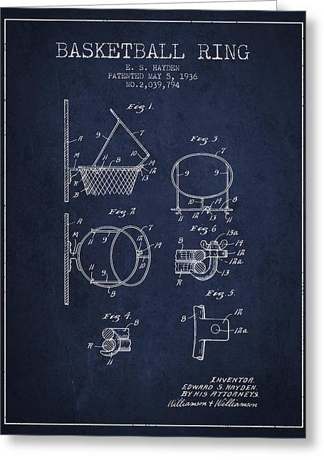 Basketball Drawings Greeting Cards - 1936 Basketball Ring Patent - navy blue Greeting Card by Aged Pixel