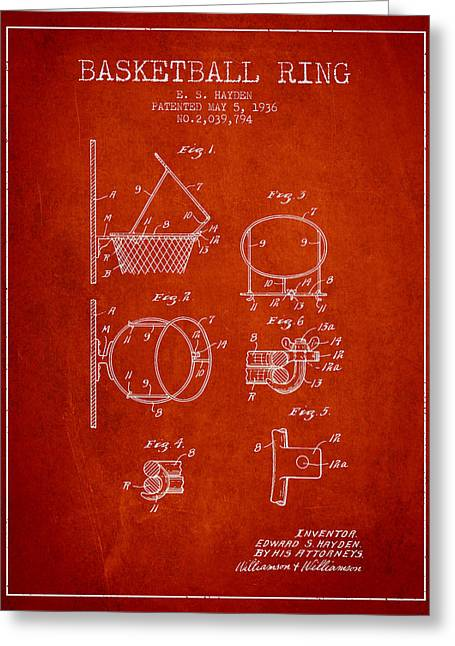 1936 Basketball Ring Patent - Red Greeting Card by Aged Pixel