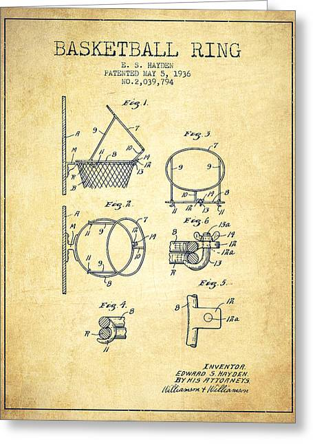 Basketball Drawings Greeting Cards - 1936 Basketball Ring Patent - vintage Greeting Card by Aged Pixel