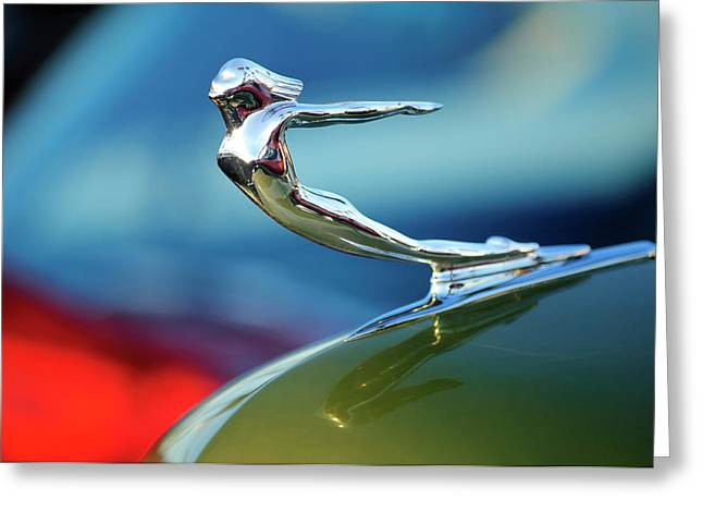 1936 Greeting Cards - 1936 Cadillac Hood Ornament 2 Greeting Card by Jill Reger