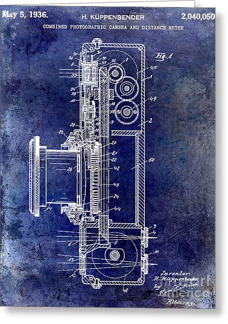 35mm Photographs Greeting Cards - 1936 Camera Patent Blue Greeting Card by Jon Neidert