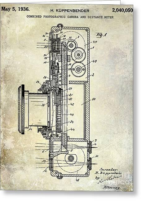 35mm Photographs Greeting Cards - 1936 Camera Patent Greeting Card by Jon Neidert