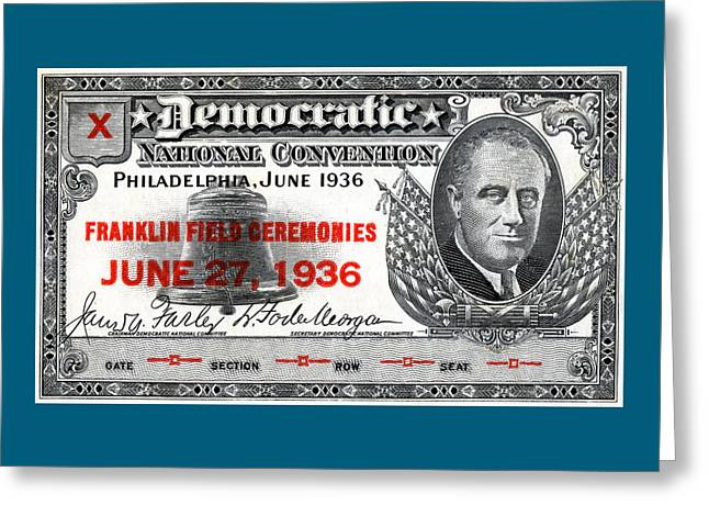 1936 Democrat National Convention Ticket Greeting Card by Historic Image
