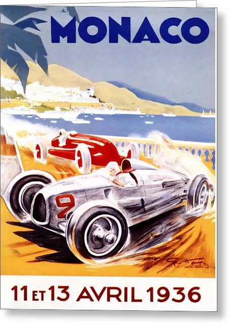 1930s Greeting Cards - 1936 F1 Monaco Grand Prix  Greeting Card by Nomad Art And  Design
